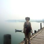 Sur le plus long pont en teck à la sortie de Mandalay